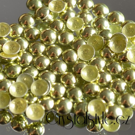 Sada hot-fix perel barva PERIDOT - 2 mm, 3 mm, 4 mm, 5 mm